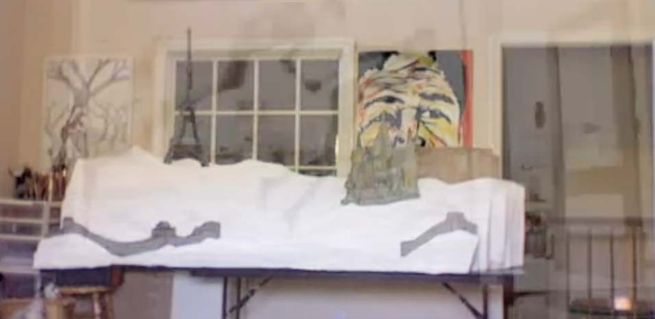 igor and andre Artist danny roberts speed art video creating a window display in his studio.