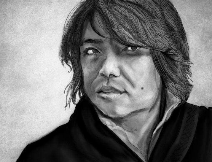Artist Danny Roberts Black and white portrait of Satoru Sugimoto
