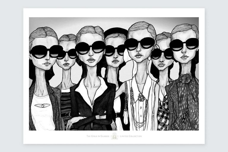 Artist Danny Roberts Girls in glasses iconic Chanel limited edition Print