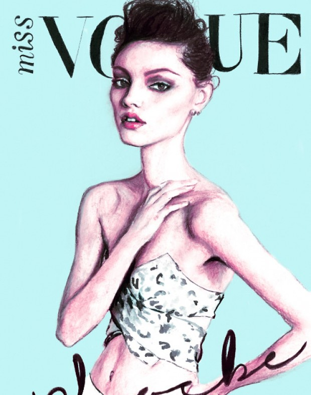 Artist Danny Roberts painted version of miss vogue Australia Cover