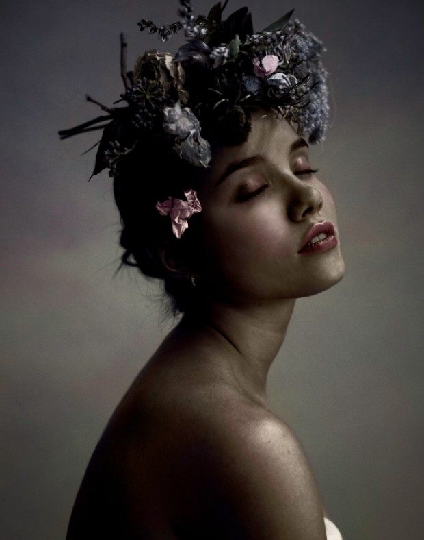 Fashion Photographer and Artist, Danny Roberts photo portrait of IMG model Anastasia Krivosheeva colorized eyes closed with flowers in her hair