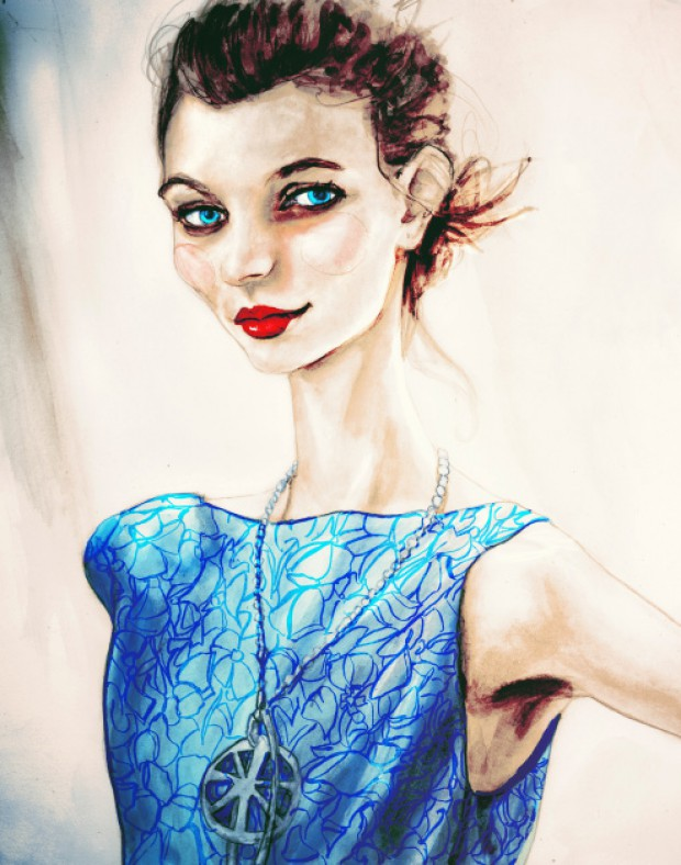 Artist Danny Roberts Painting of New Zealand Elite Model Grace Hollows at Rachel Antonoff Spring 2011 Collection.