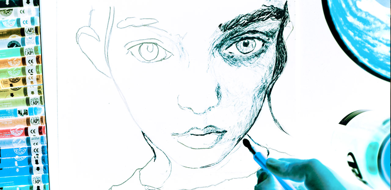 Video still of Artist Danny Roberts mix media portrait of Irish Model laura o'grady Speed Painting