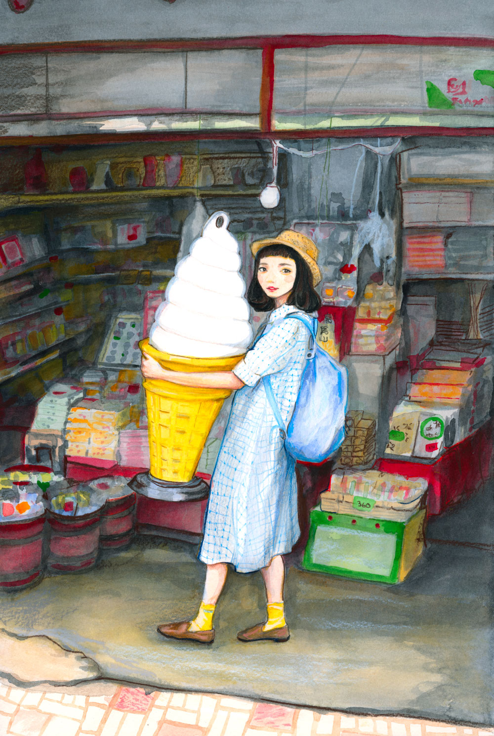 Danny roberts painting of Japanese star Natsume Mito - なつめみと with a big ice cream cone