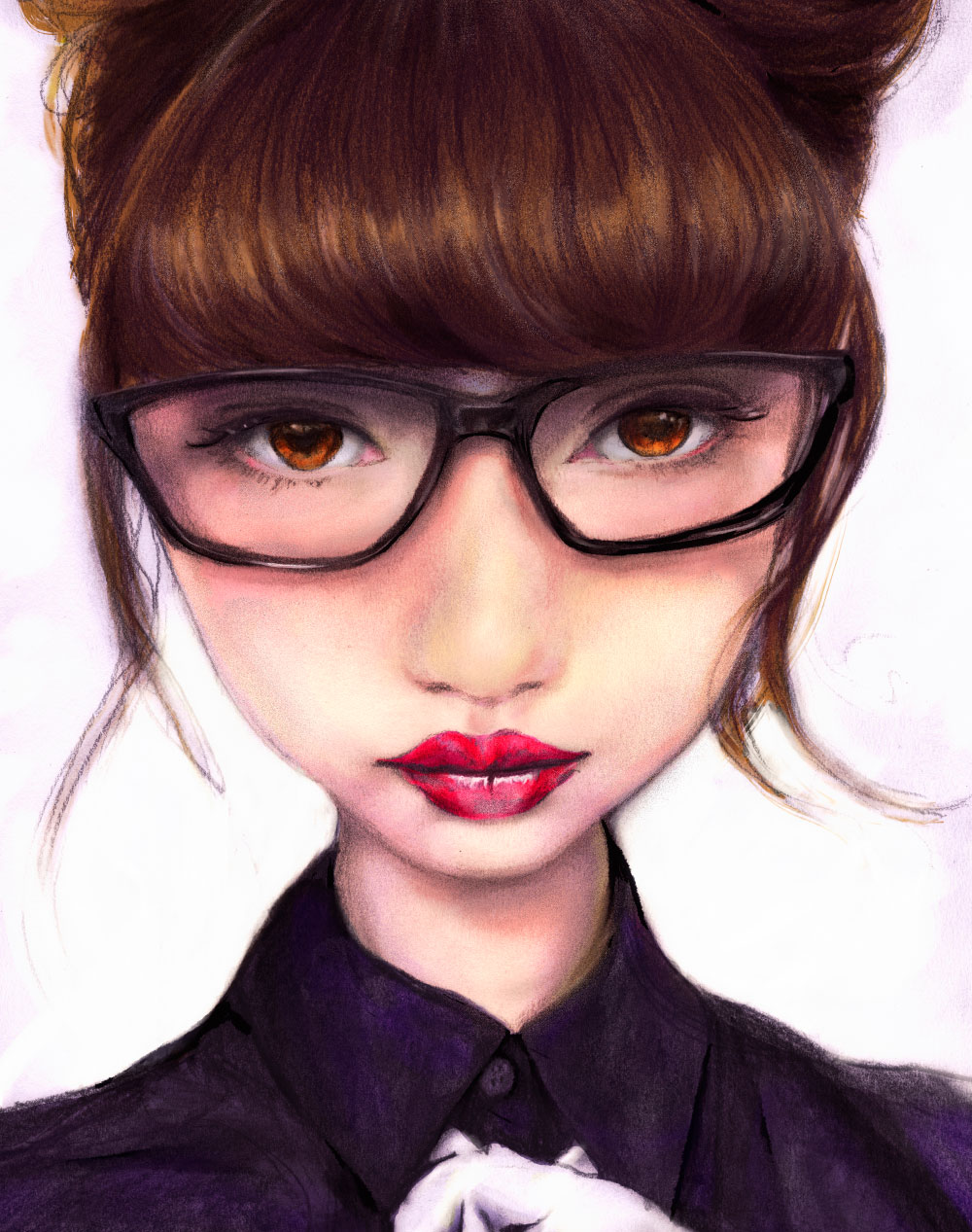 Artist Danny Roberts Portrait of Japanese Model Risa Nakamura (RisaDoll) wearing Glasses