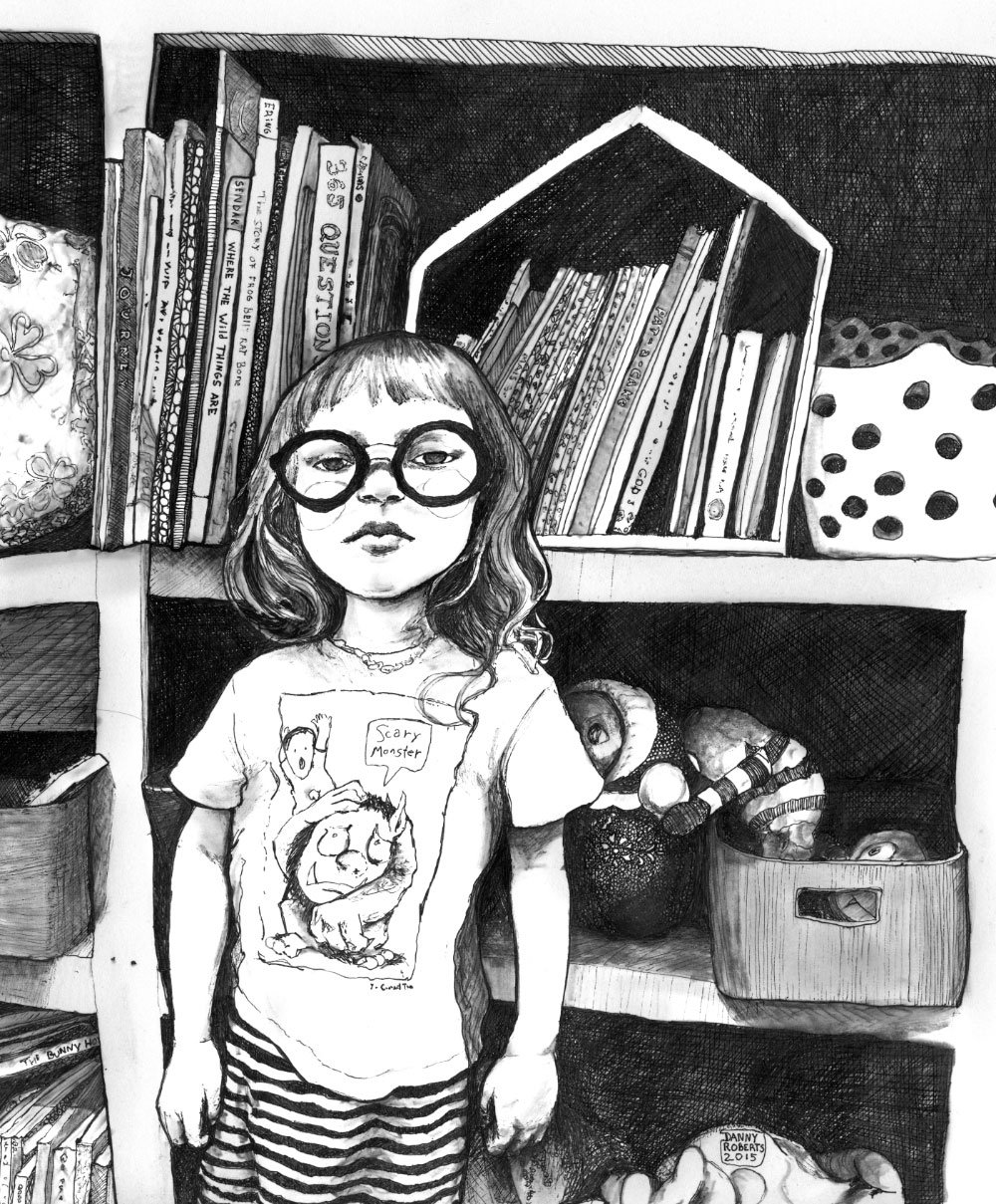 Artist Danny Roberts black and white illustrated portrait of Sherri and max bemis daughter Lucy Jean