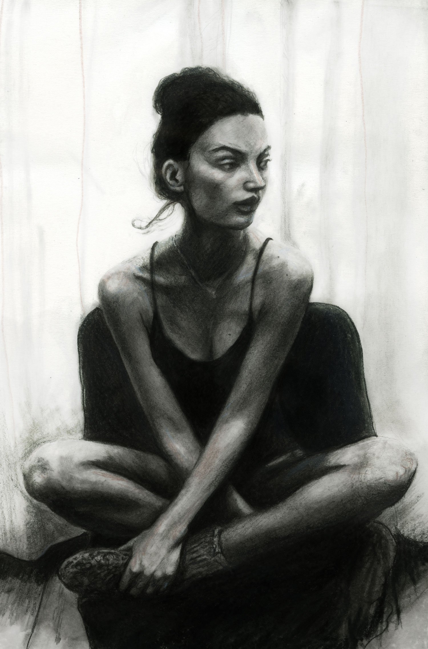 Artist Danny Roberts Pencil Study Sketch of Swedish model Mona Johannesson Sitting Black and white