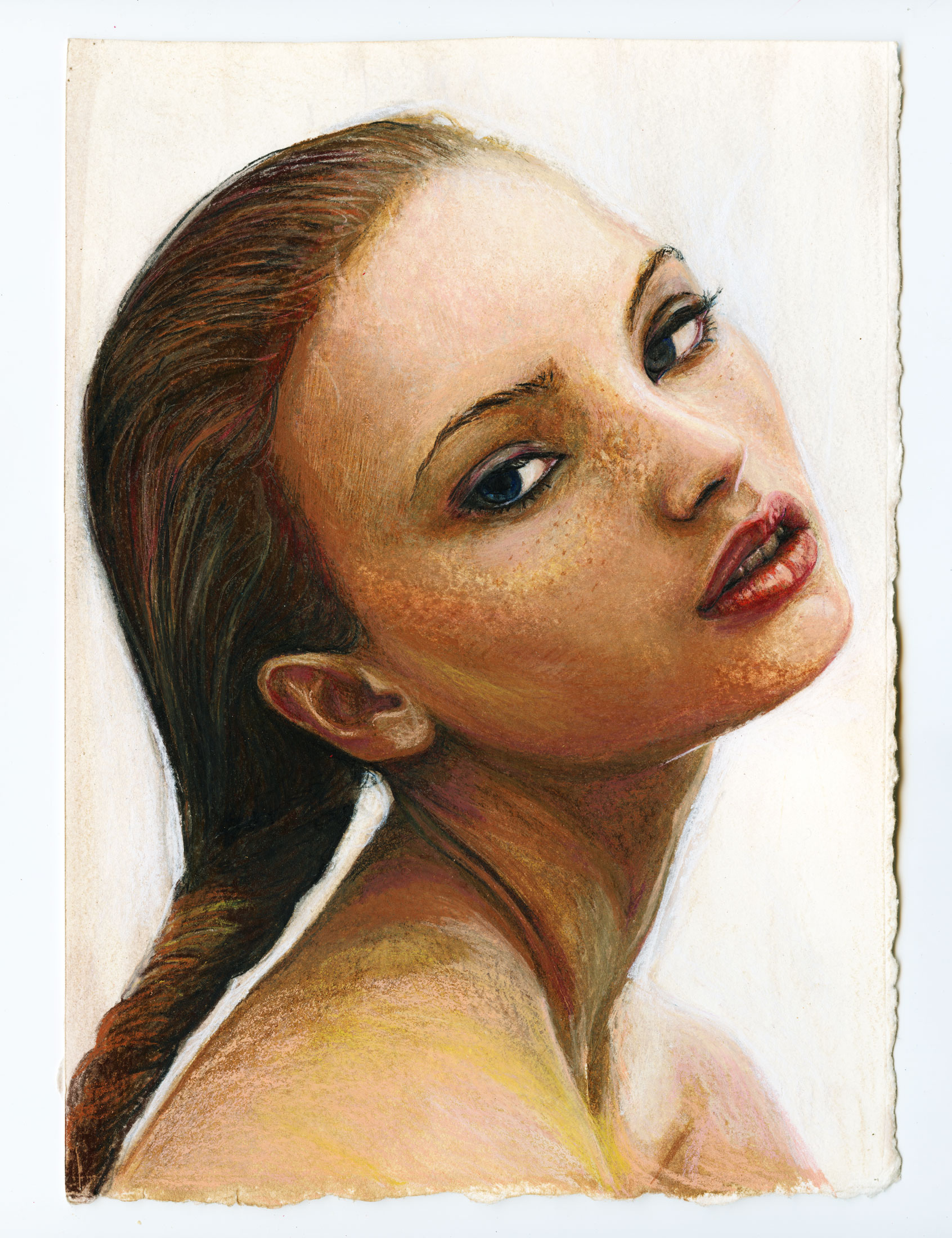 Artist Danny Roberts Light and Color study of Swedish model Mona Johannesson Color pencil Portrait