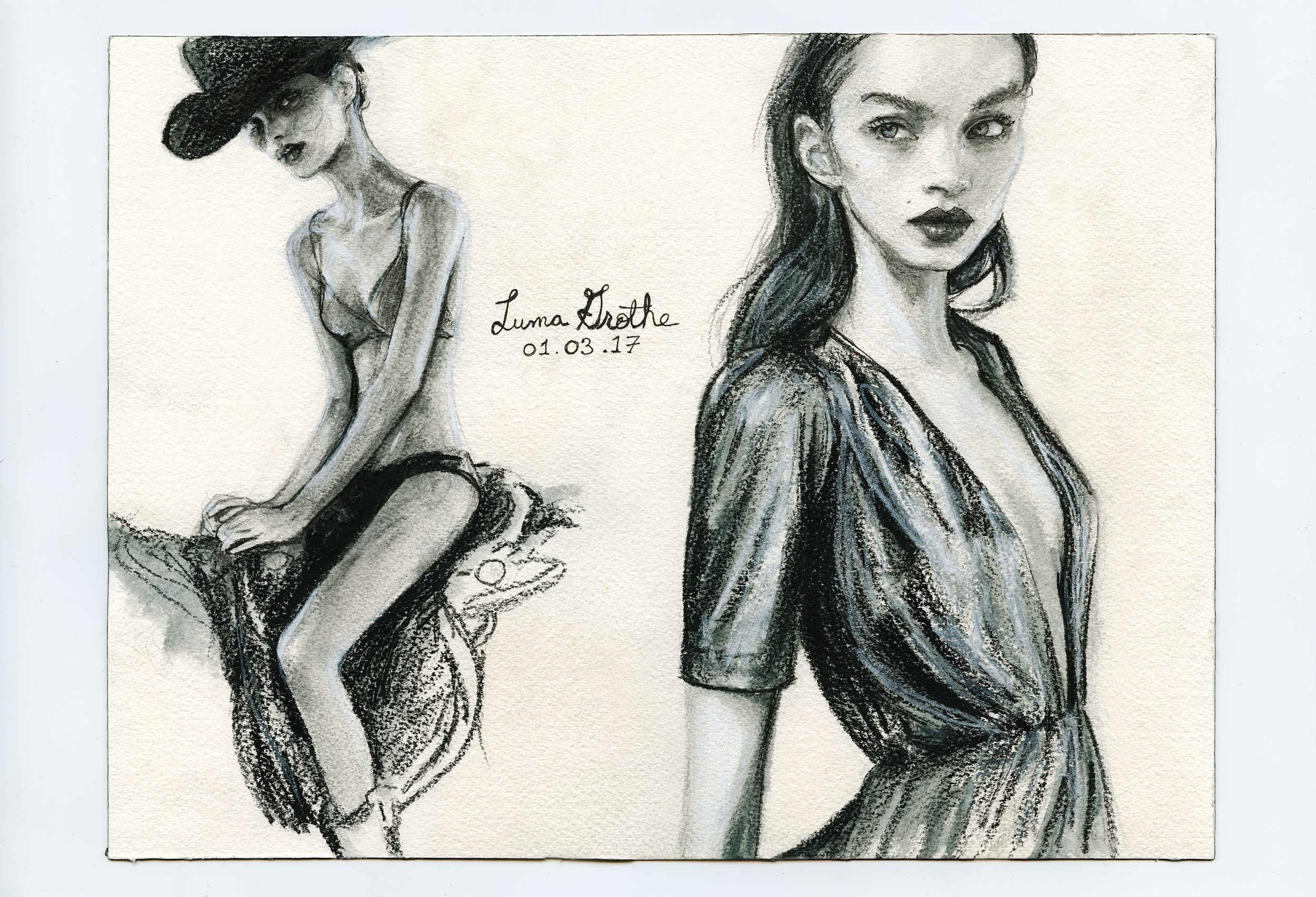 Artist Danny Roberts Daily Gesture Sketches 01-03-17 of Brazilian Model Luma Grothe
