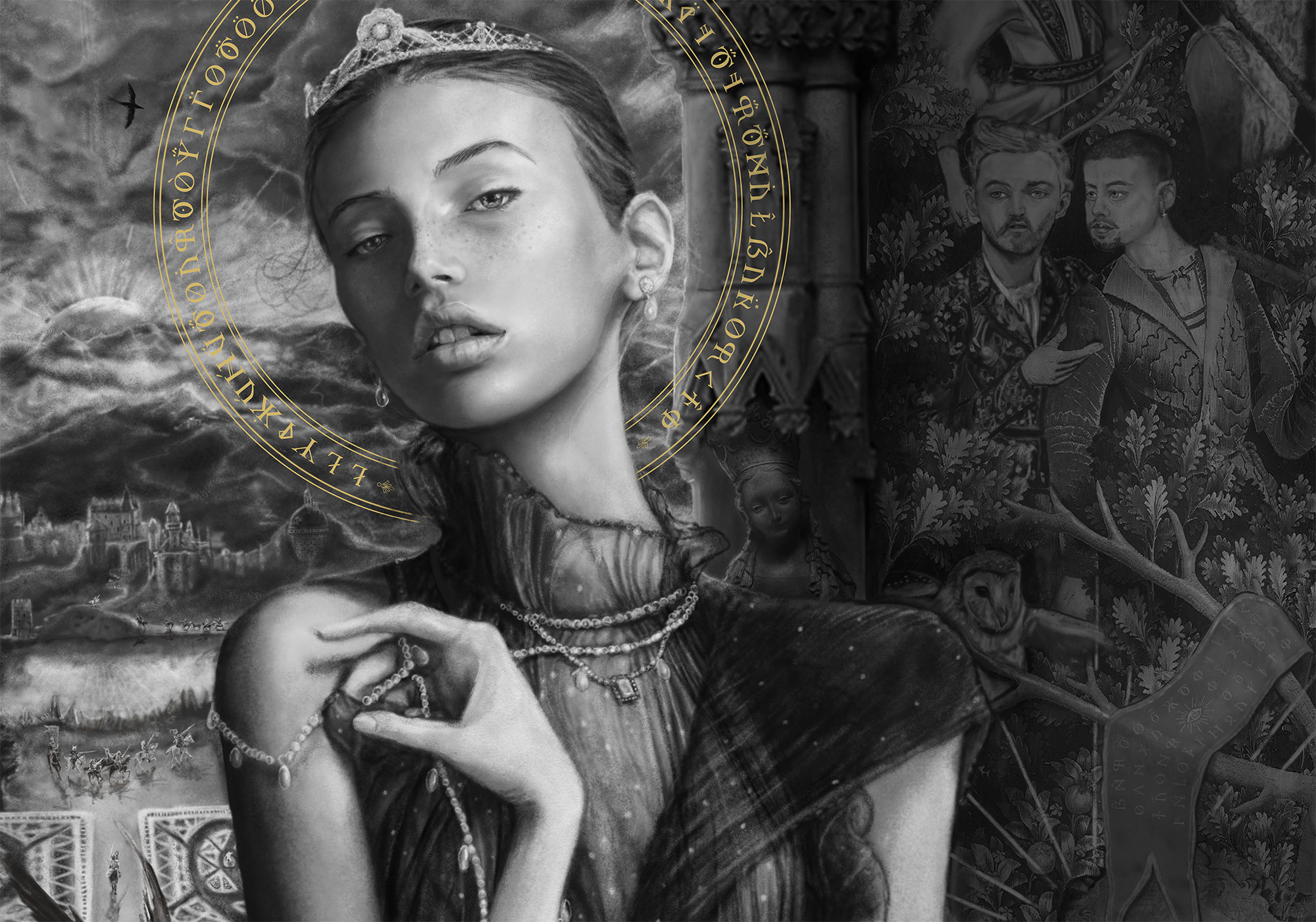 A close up details picture of swedish model mona johannesson wearing a crown and of  a tapestry featuring simon ungless, alexander mcqueen and lily cole by artist Danny Roberts  black and white digital concept sketch