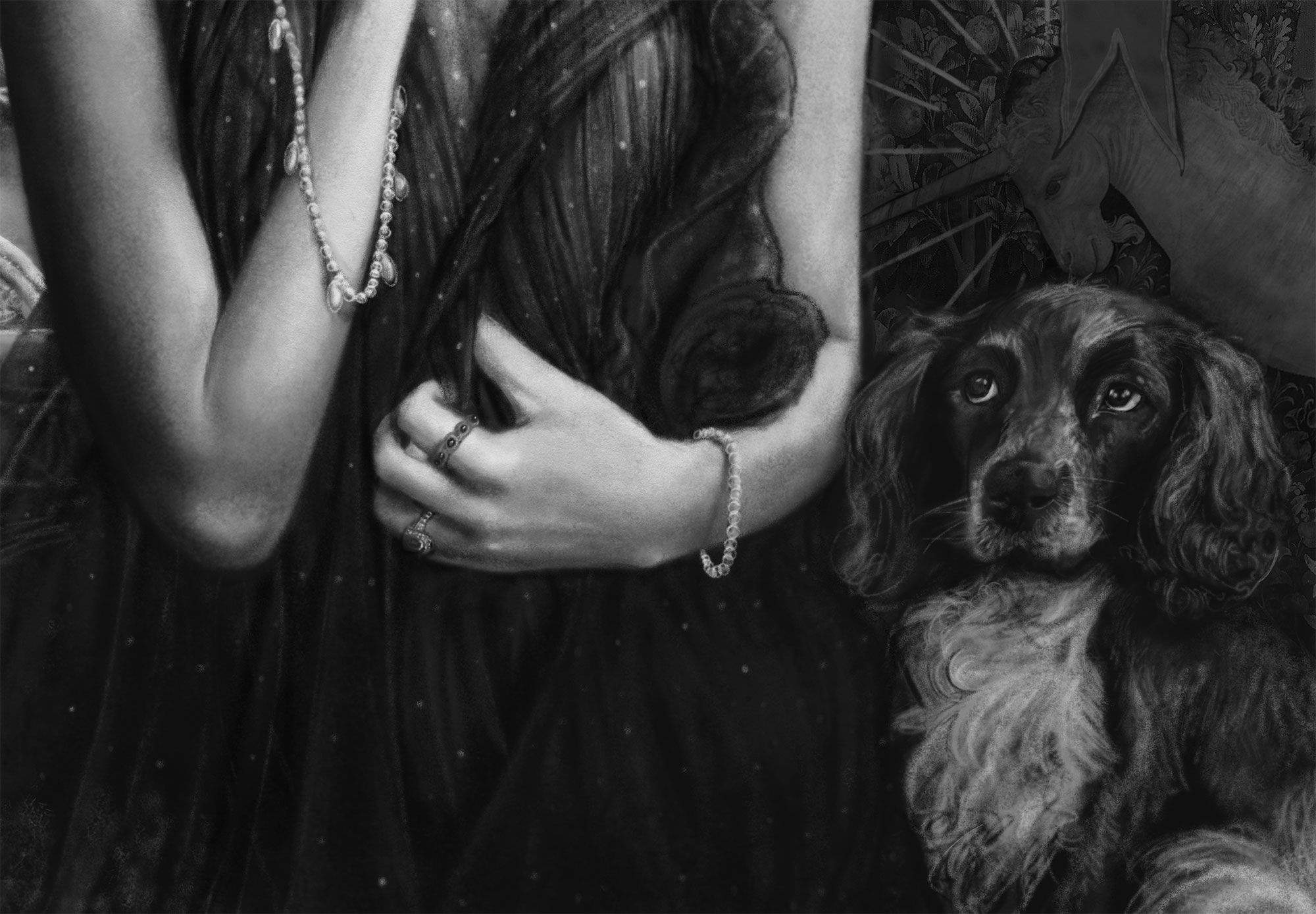 A close up details picture of mona johannesson dog Selma  of artist Danny Roberts  black and white digital concept sketch