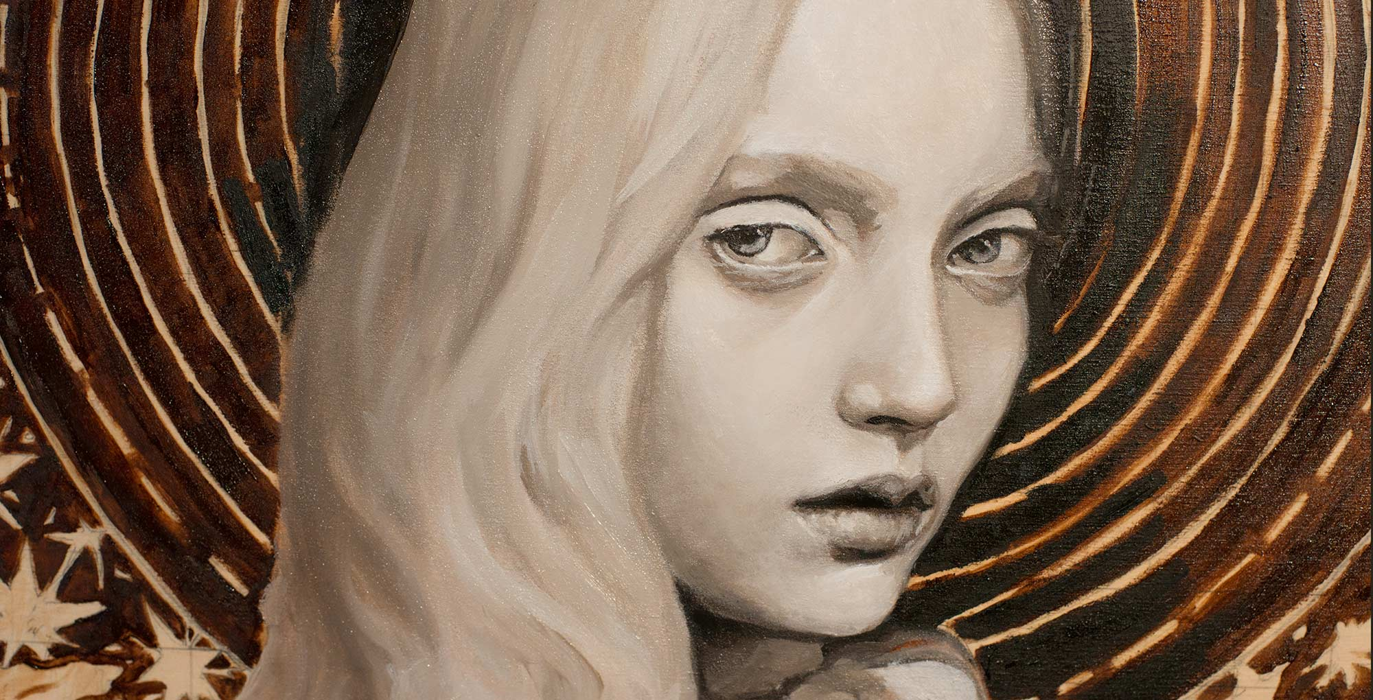 Codie Young Oil Painting Deadlayer Details of face by artist Danny roberts