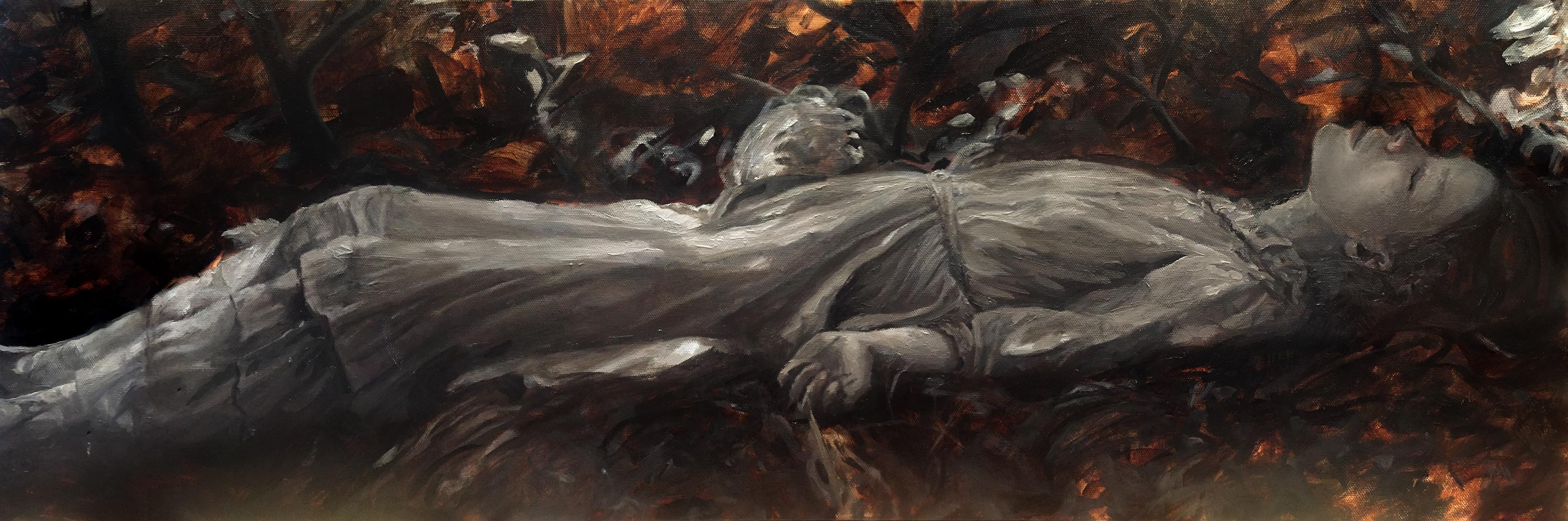 Artist Danny Roberts Underpainting of model Julia Hafstrom Sarah Finn. Girl Laying down in a forest in leaves beauty