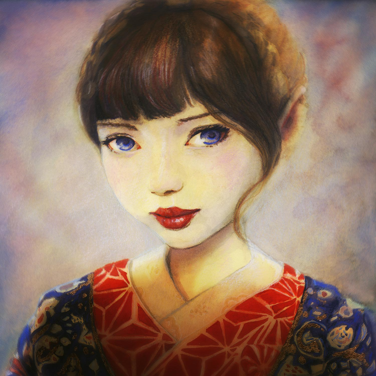 Artist Danny Roberts Portrait of a girl in a kimono inspired by Risa Nakamura