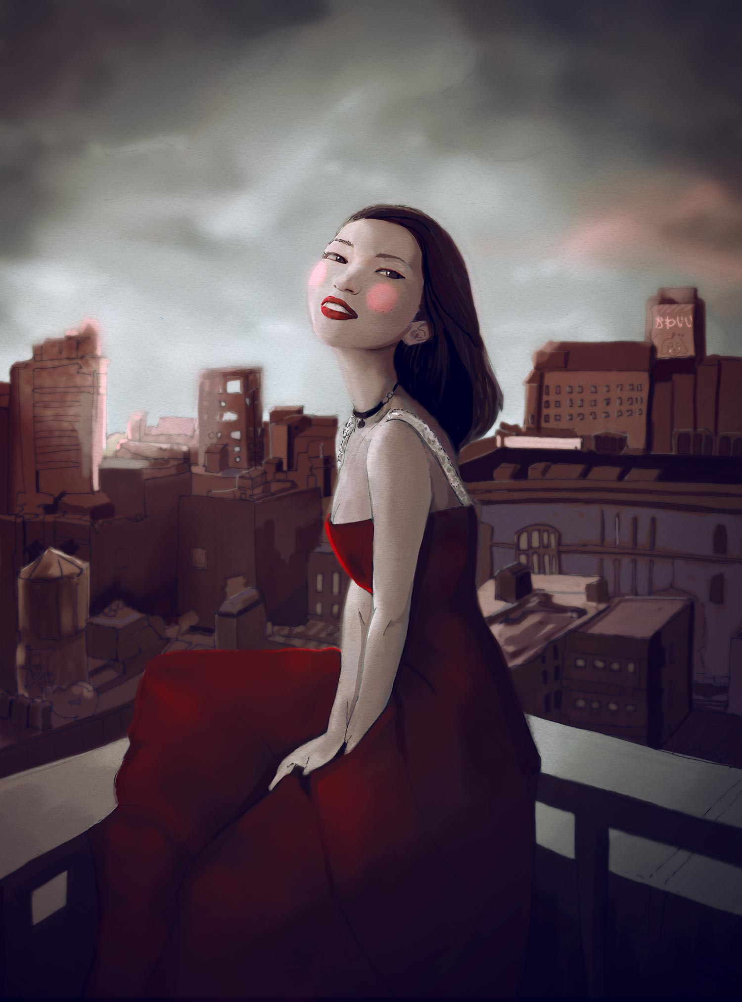 Artist Danny Roberts Portrait of model blogger portrait of Aimee song of Song of Style.