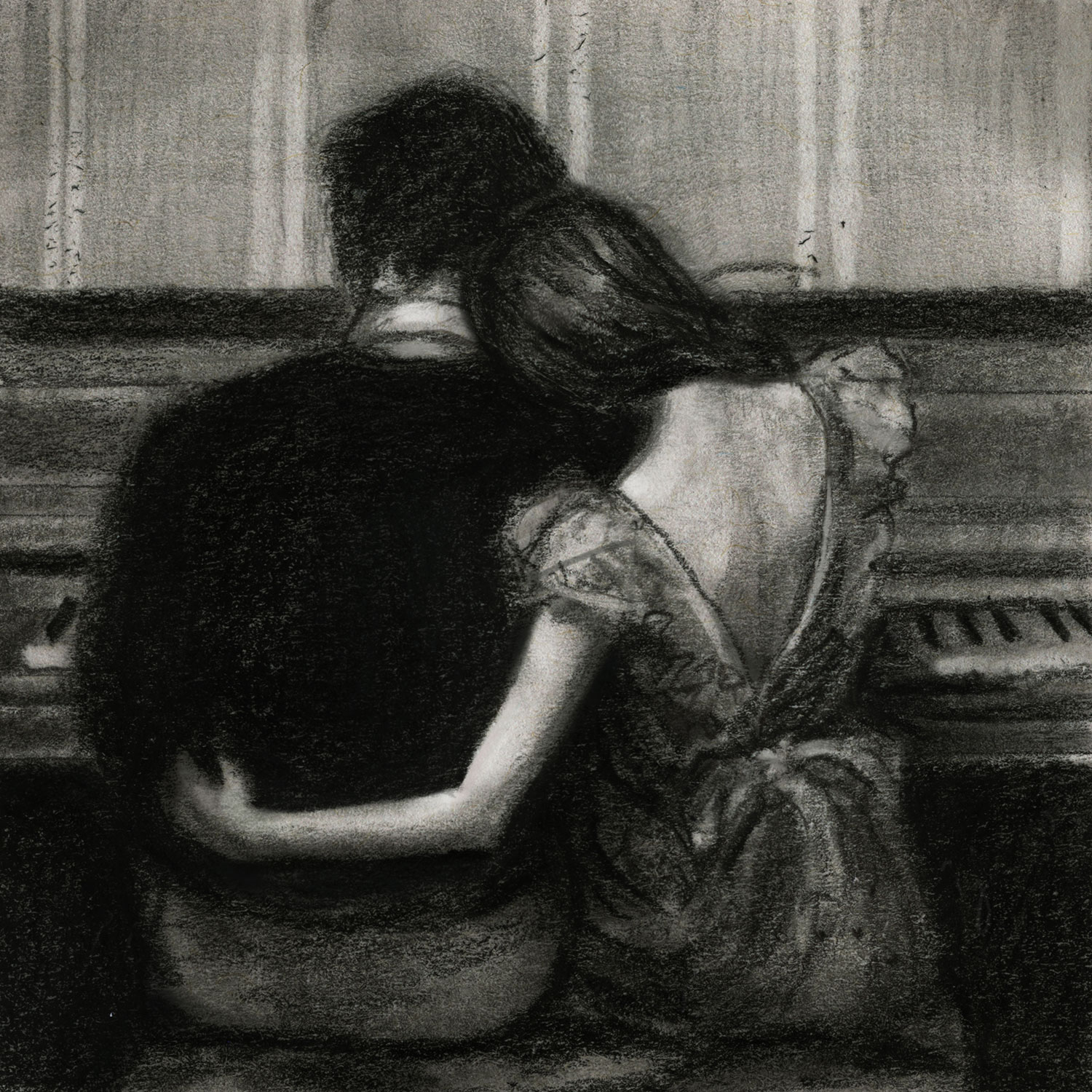 Black and white sketch by danny roberts of a couple at the paino inspired by Joseph Lorusso playing their song painting