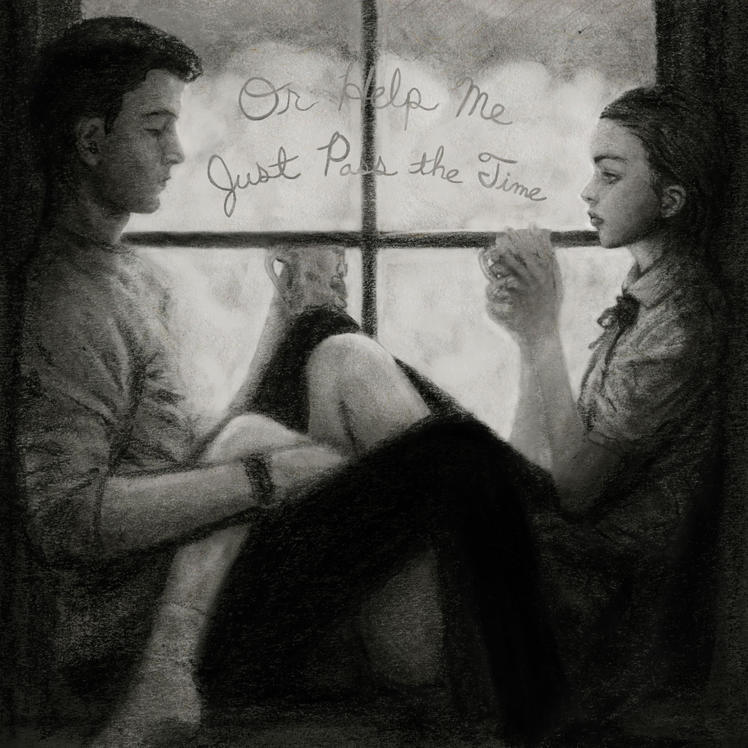 Danny Roberts and Girl sitting sipping coffee black and white love story