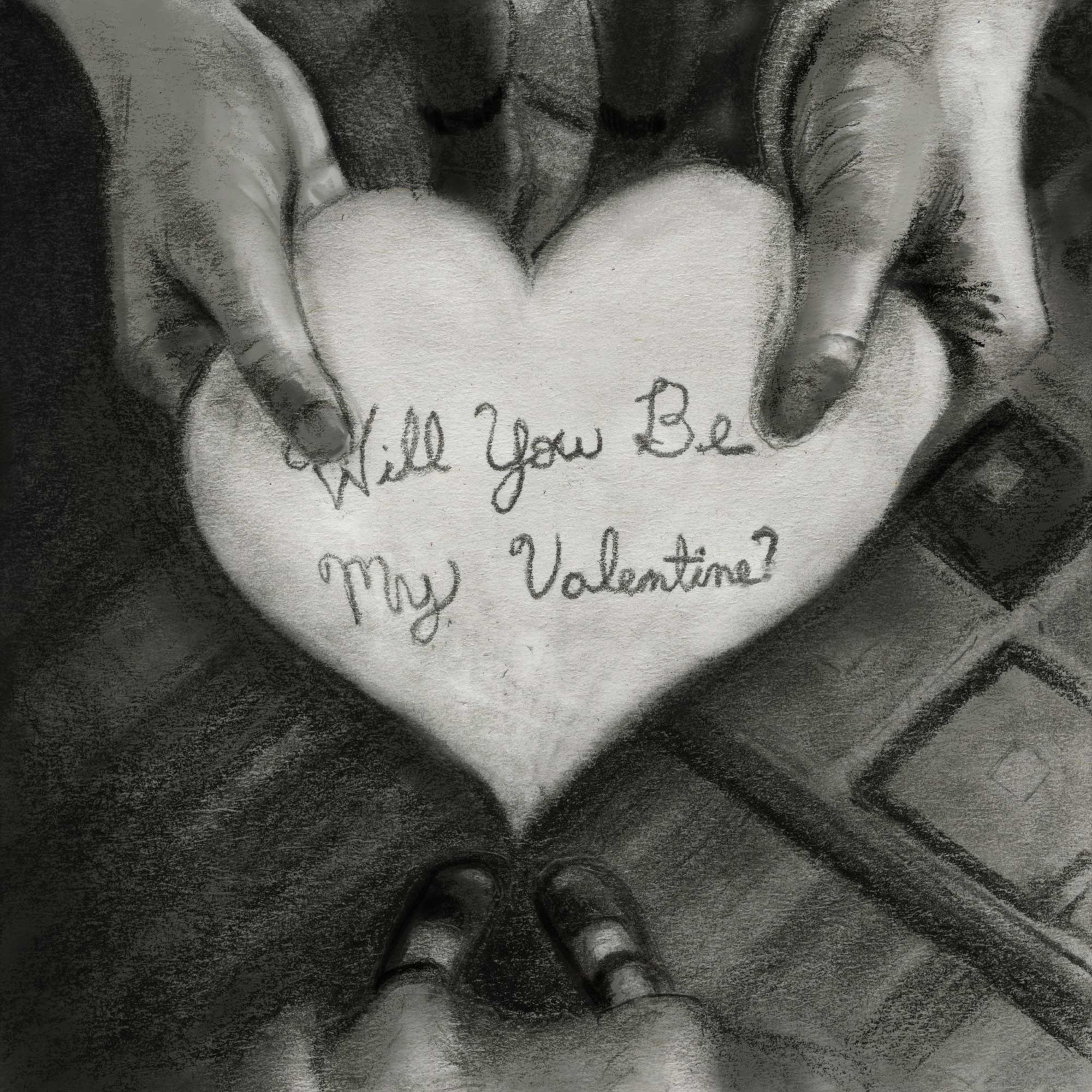 Will you be my Valentine drawing hands holding valentine igor and andre