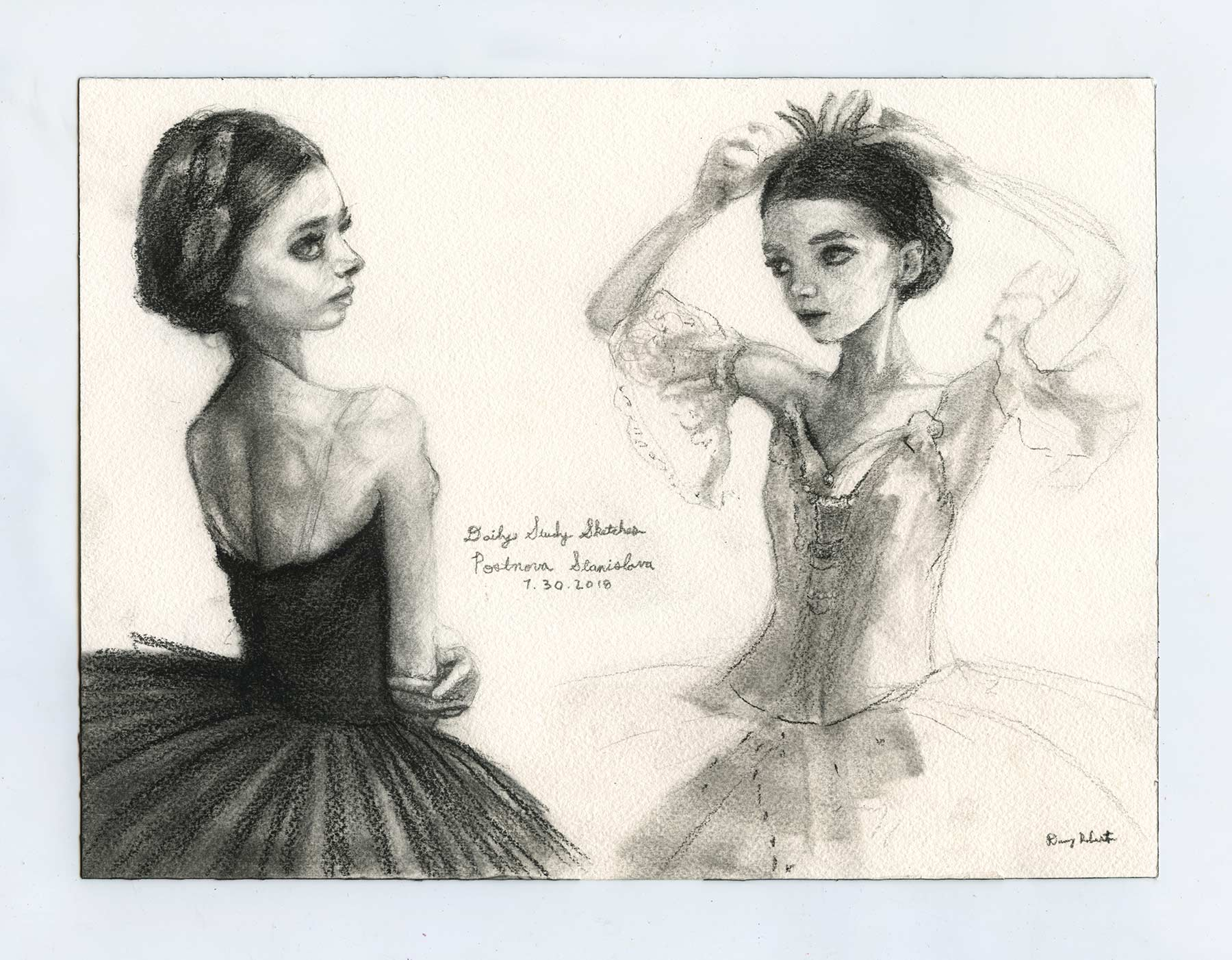 Sketch of Russian ballerina Postnova Stanislava rubytear by danny Roberts pencil and charcoal.