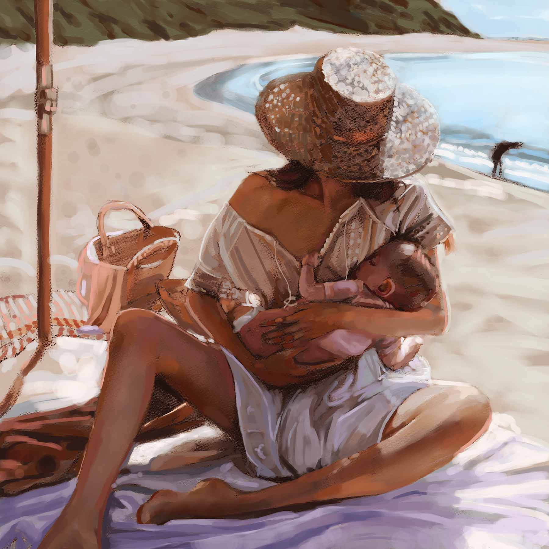 Artist Danny Roberts Digital painting Portrait of australian blogger Jessica Stein and her daughter Rumi