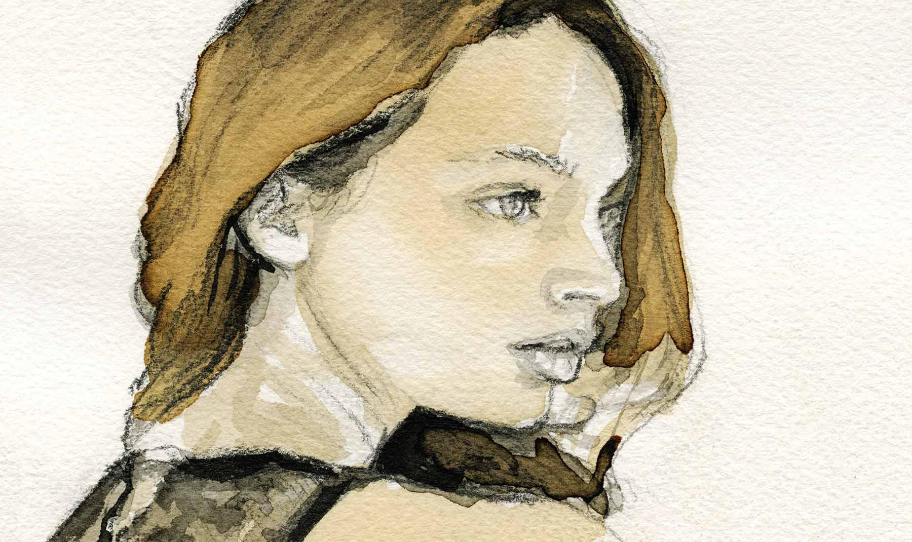 sketch of Mona Johannesson back profile DailyGestureSketches on 12-22-16 Artist Danny Roberts