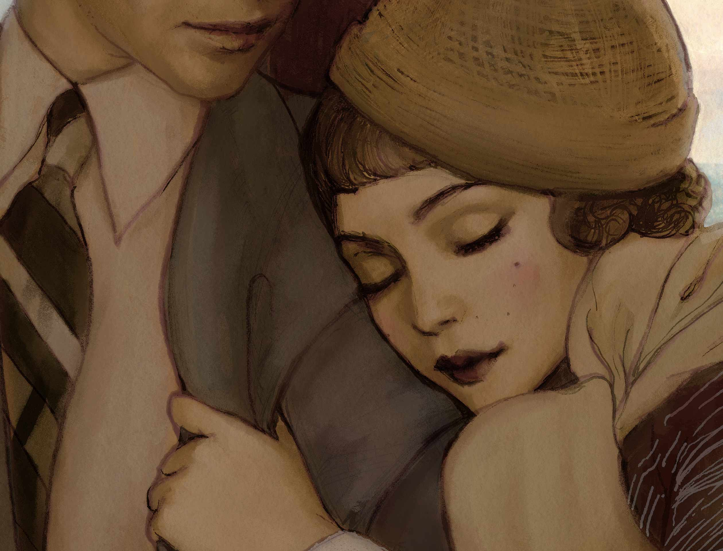 Close up Artist Danny Roberts Valentines Falling in Love it happened one night. Girl Sleeping