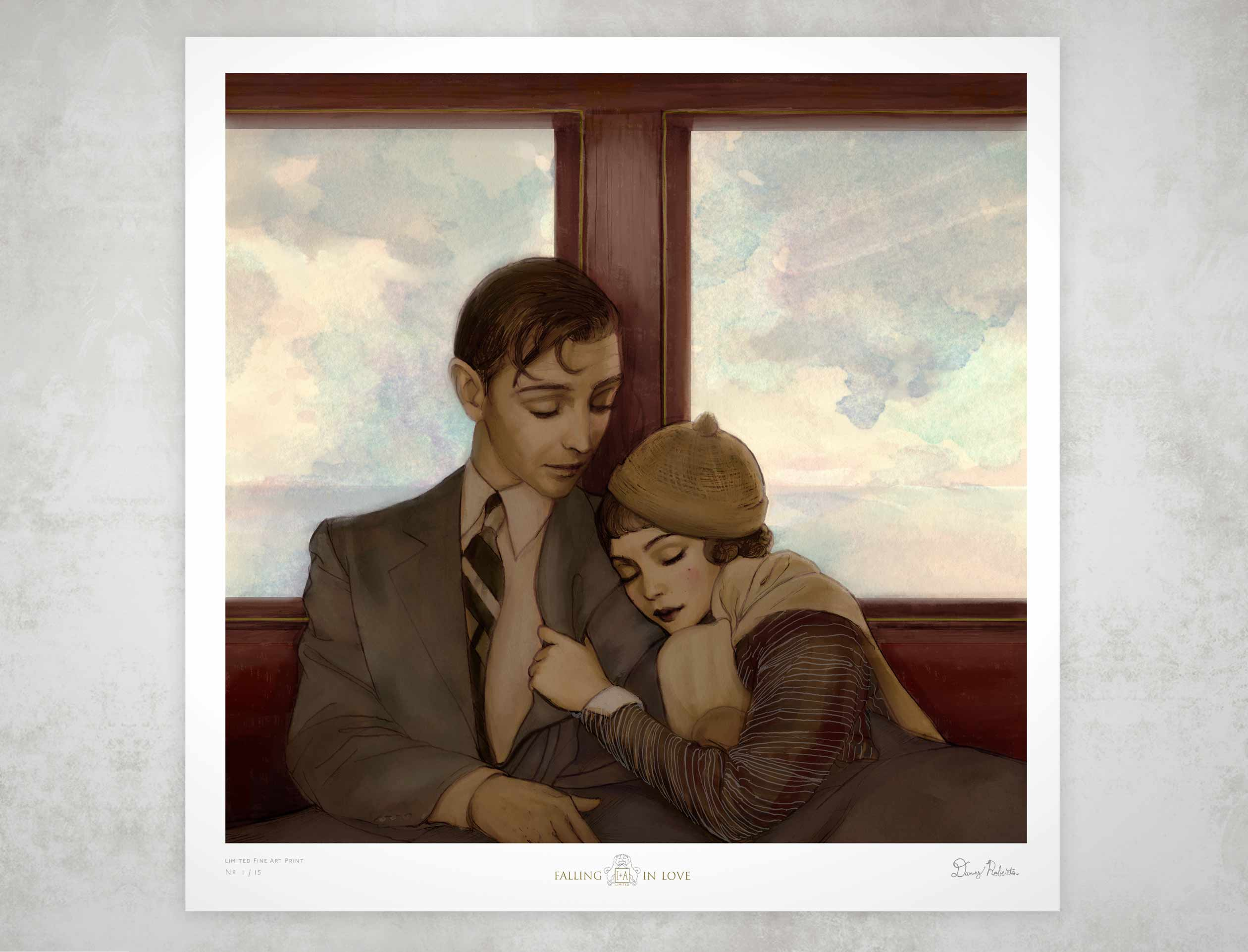 Valentines Falling in Love it Limited edition 15 by 15 fine art print by Artist Danny Roberts .