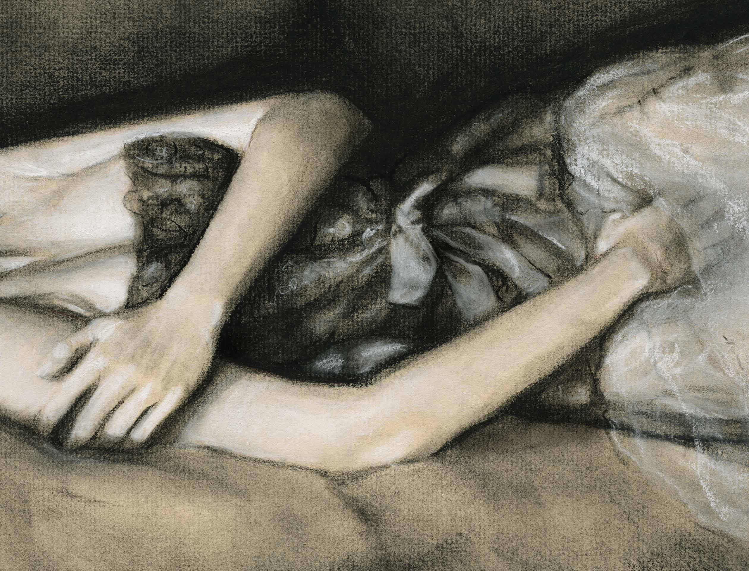 A close up of beautiful girl's body Laying on a couch Art by Fashion Ilustrator Danny Roberts