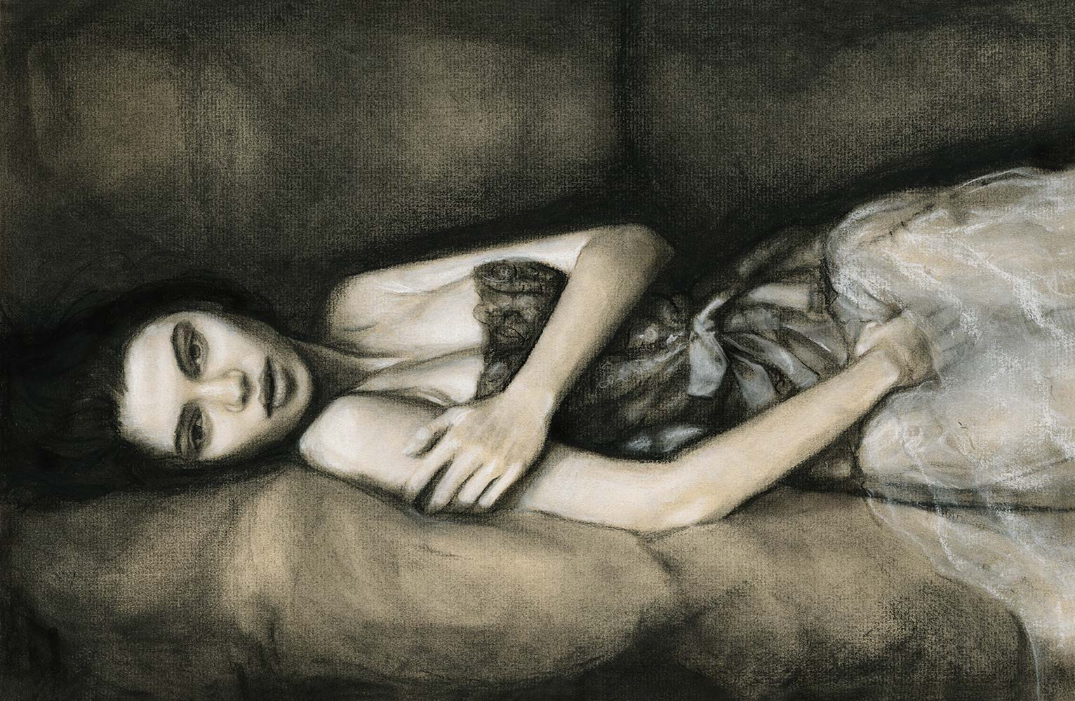 A beautiful girl's Reclinging on a couch full body in dress Art by Fashion Ilustrator Danny Roberts