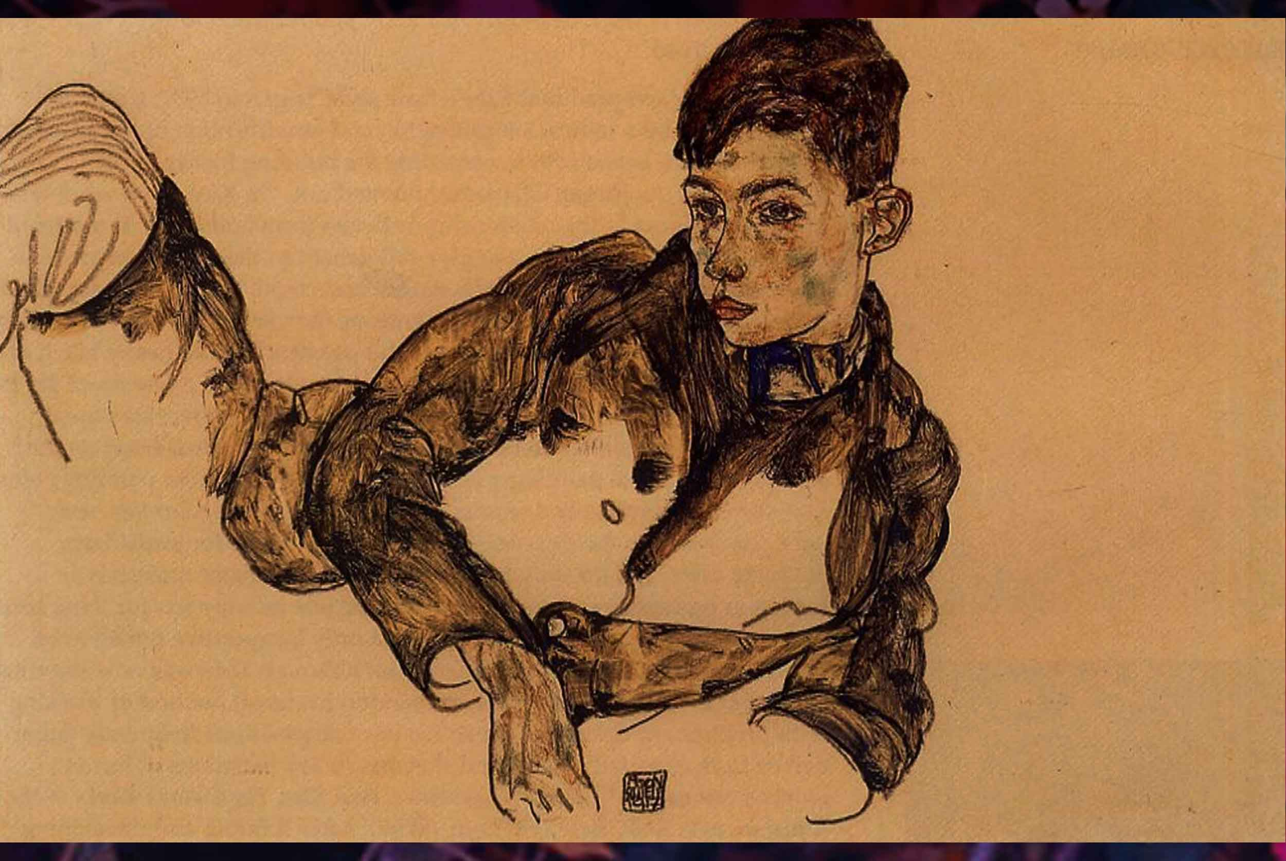 The Reclining Boy Leaning on His Elbow painting originally painted by Egon Schiele