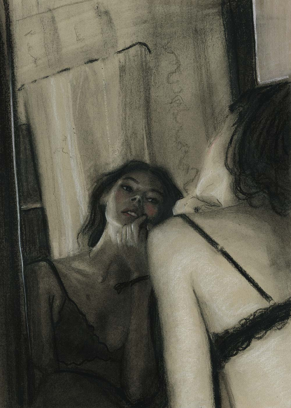 Charcoal Drawing by Fashion Artist Danny Roberts of Mona Johannesson Getting ready