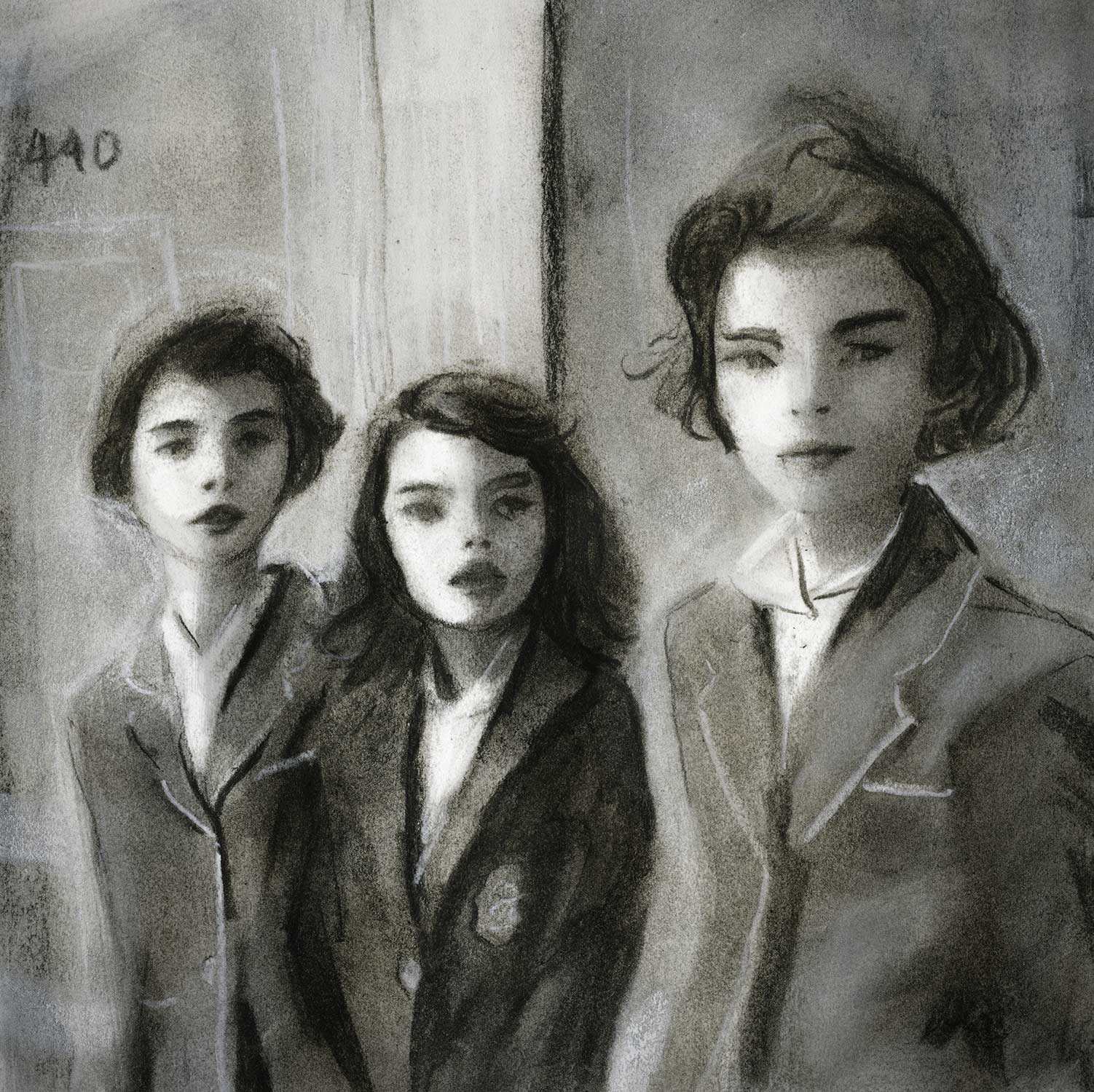 Charcoal Sketch of 3 school girls from the 1940s life magazine