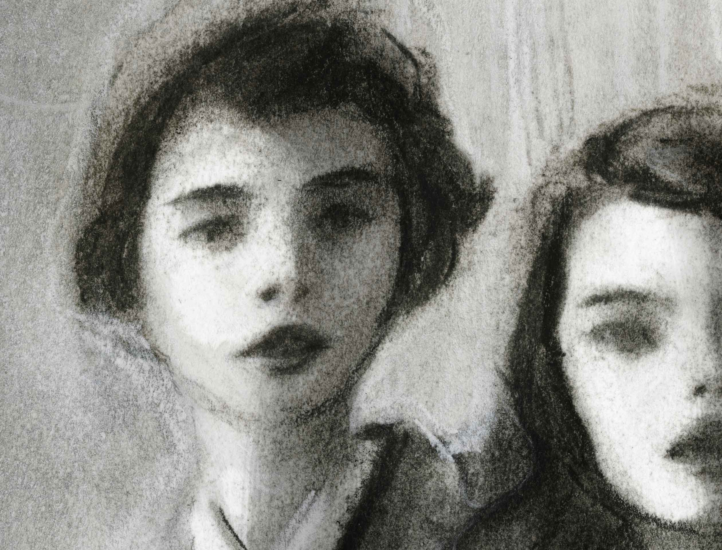 Detail shot 1 of girls face from Charcoal Sketch of 3 school girls from the 1940s life magazine
