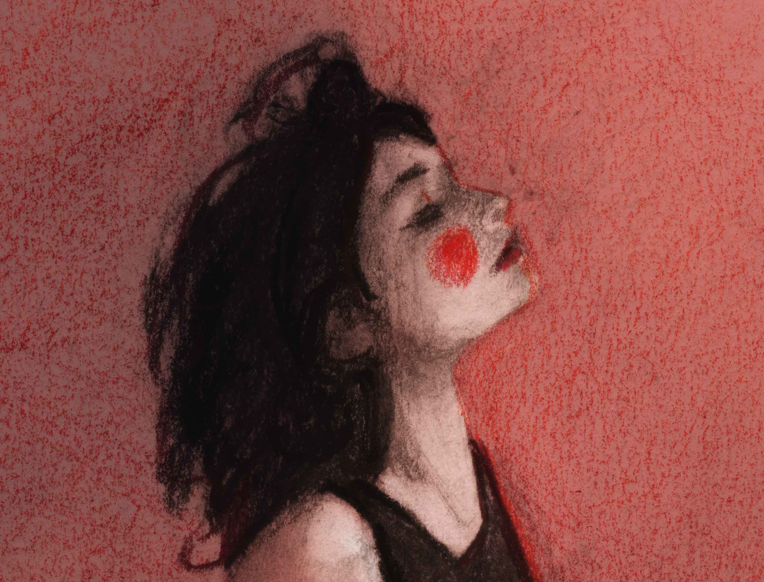 Details close up of beautiful model artist Renata Gubaeva by fashion illustrator Danny Roberts mediums are media sketch. Renata is sitting on the ground all red with red lips