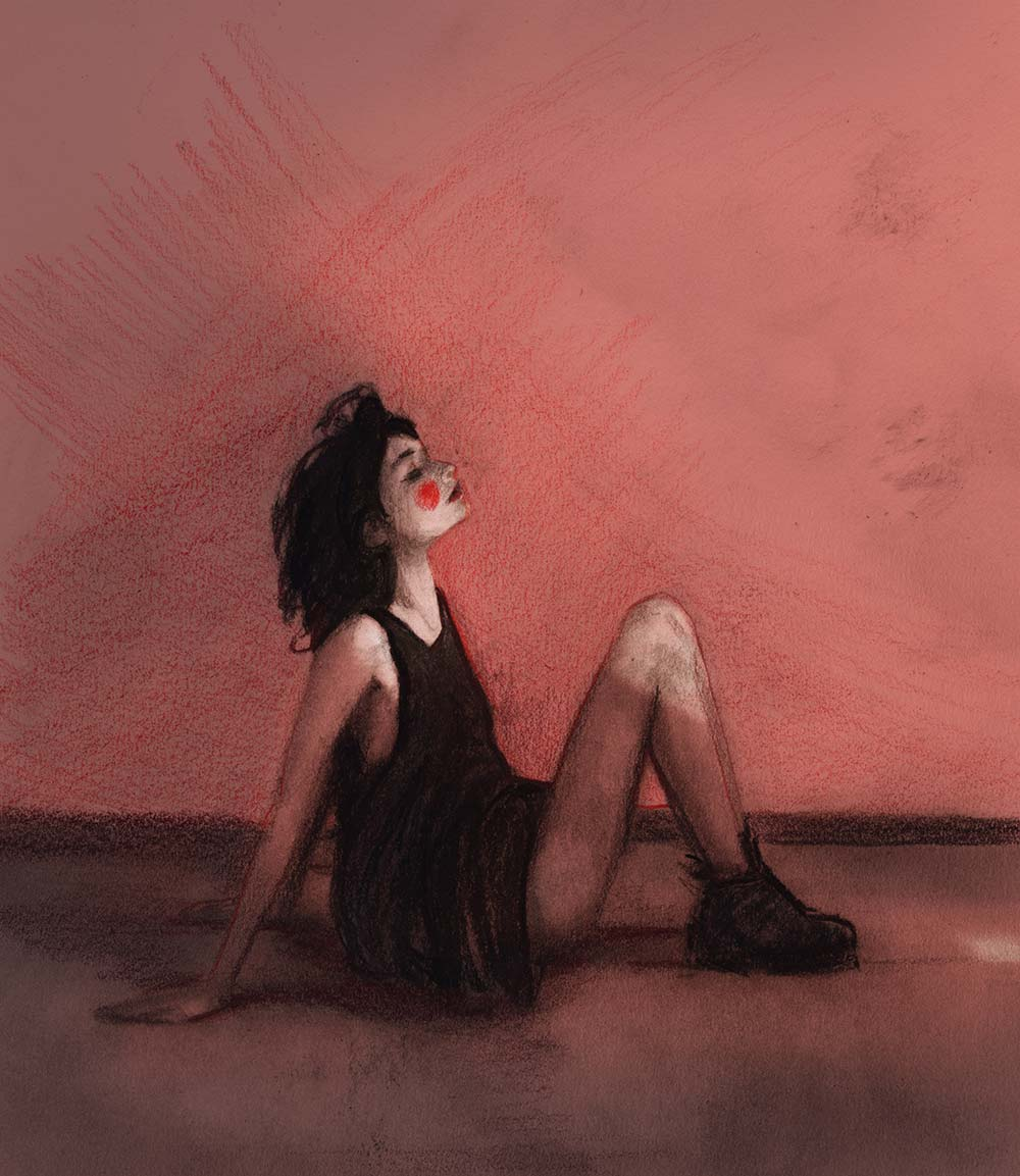 Artist Danny roberts mixed media sketch of model artist Renata Gubaeva sitting on the ground all red with red lips