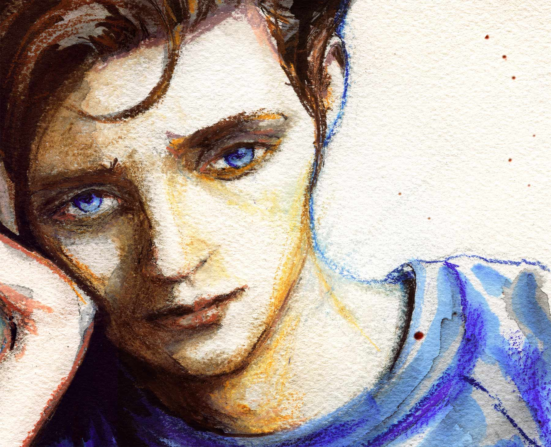 Close up of the boys face from danny roberts album art for SayAnything's oliver appropriate