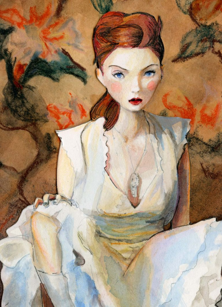Lily Cole Character Sketchbook Re002 Print Deckled Edges Close up Female pose