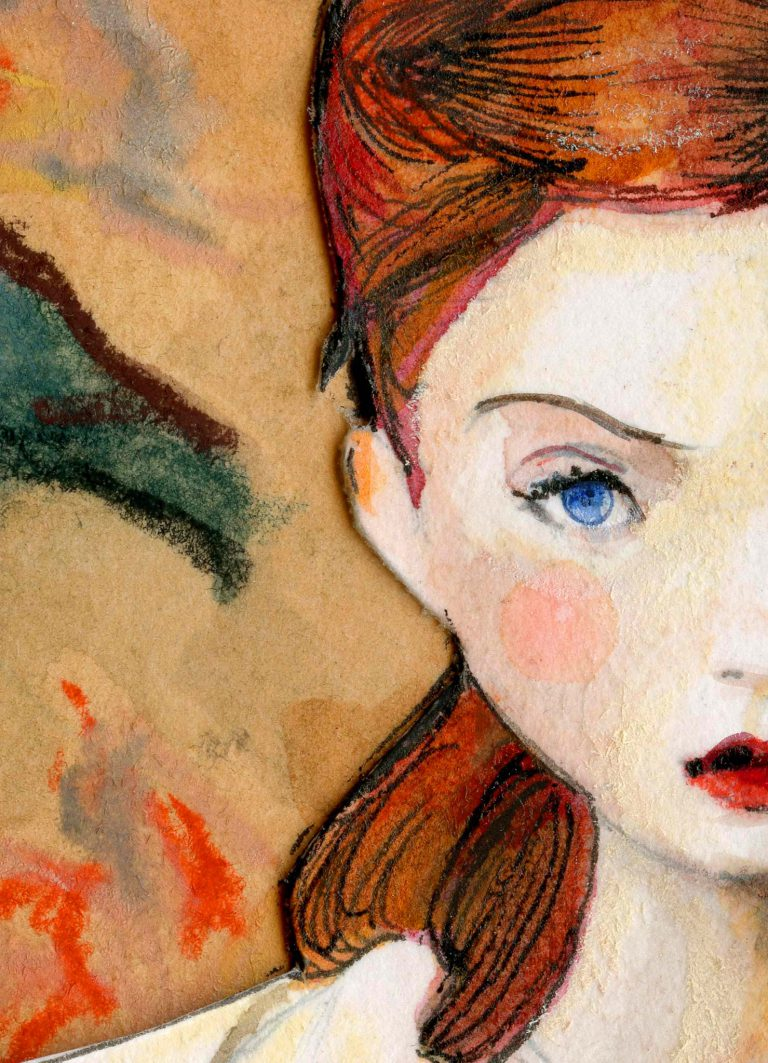 Lily Cole Character Sketchbook Re002 Print Deckled Edges Close up Female Face red hair