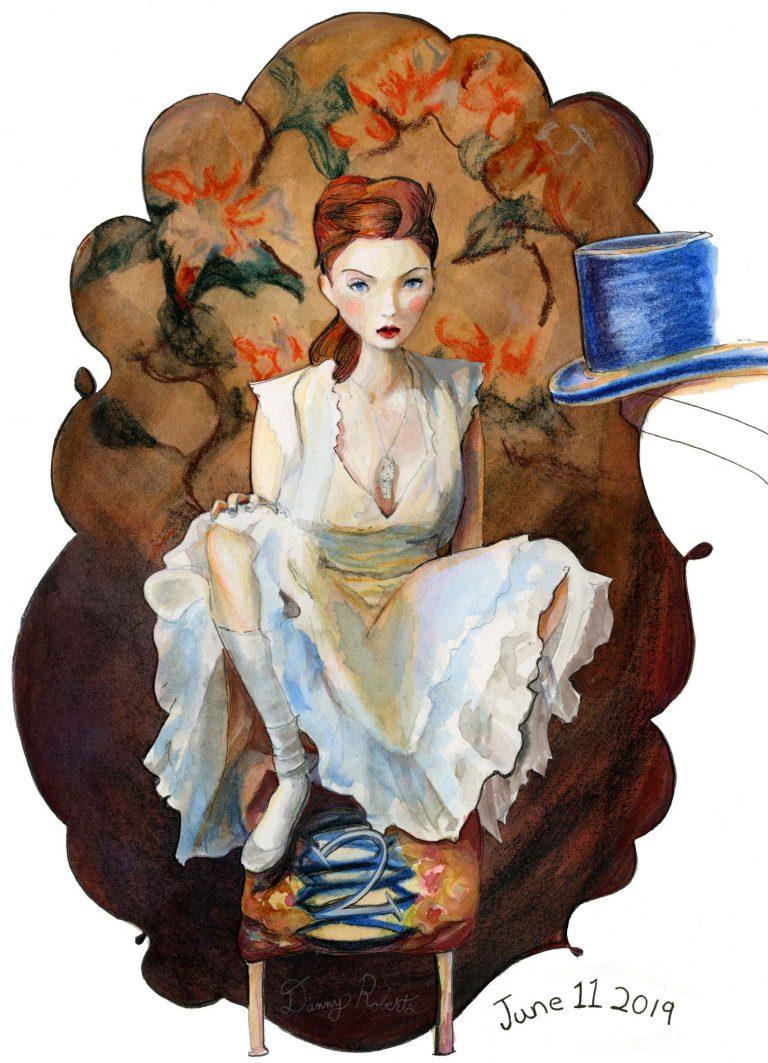 the Orginal Painting of Lily Cole Character Sketchbook Re002 by Danny Roberts Full Screen Image