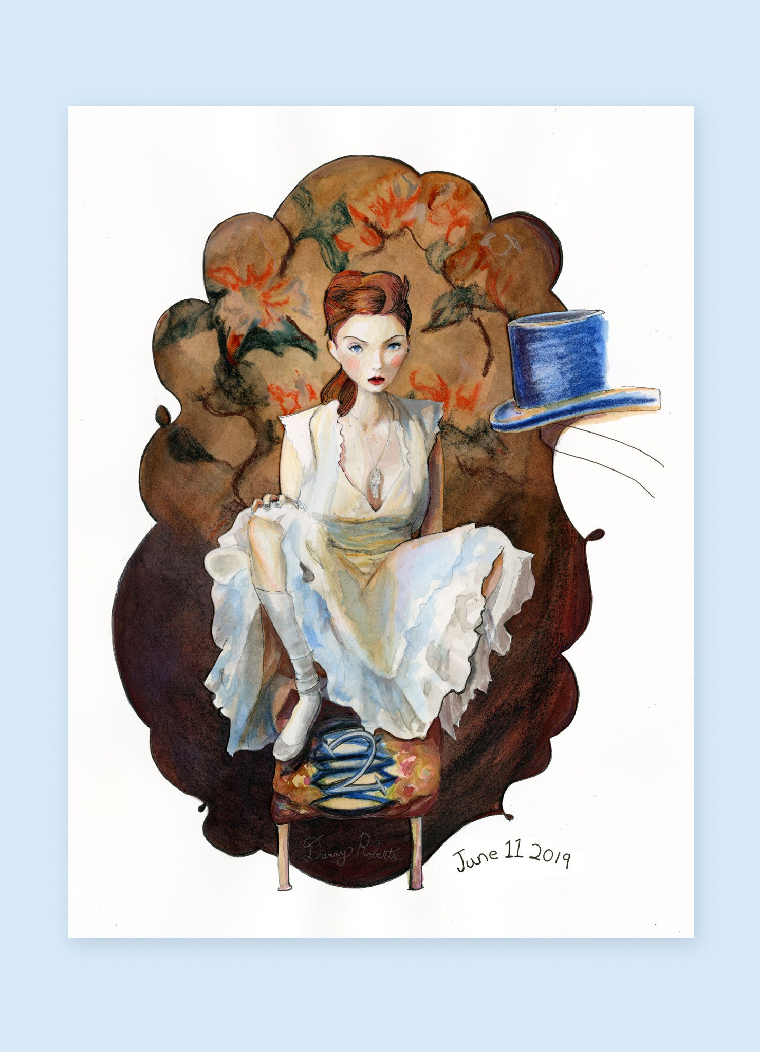 the Orginal Painting of Lily Cole Character Sketchbook Re002 by Danny Roberts