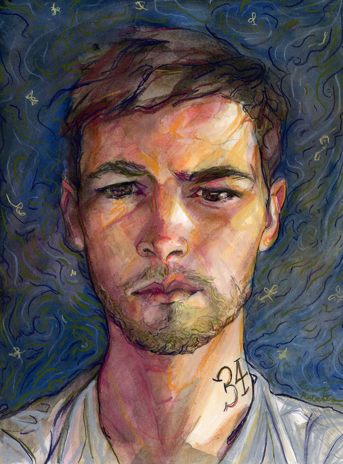 Artist Danny roberts birthday self portrait for his 34th birthday
