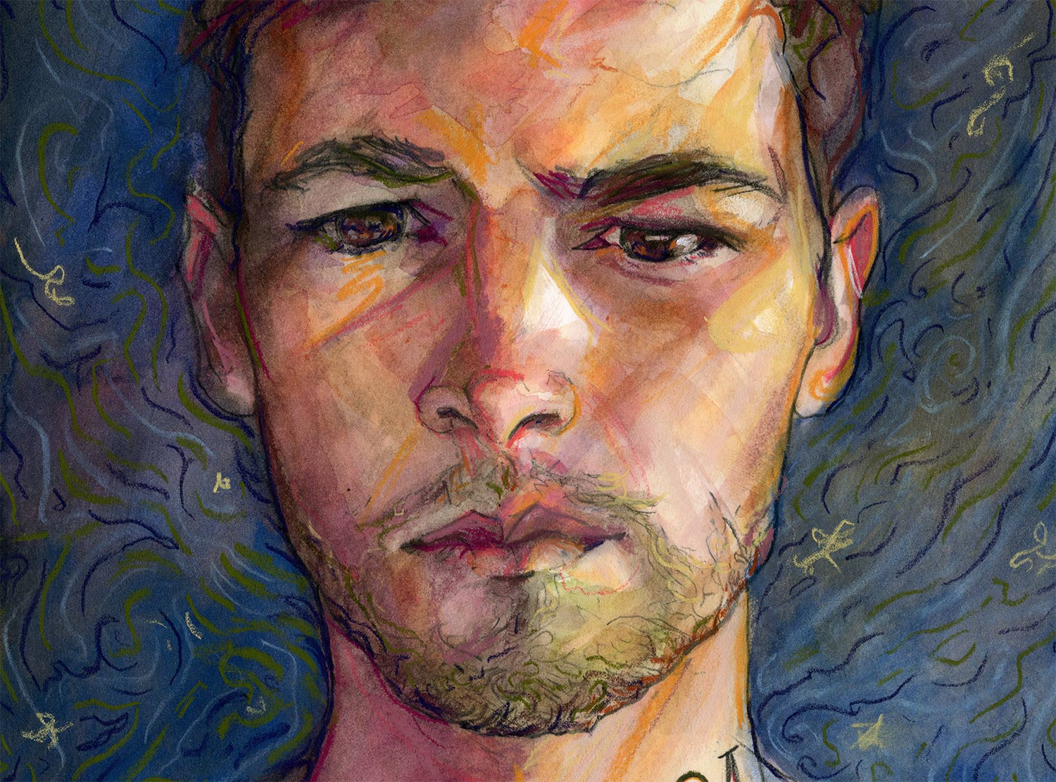 Close up of Artist Danny roberts birthday self portrait for his 34th birthday