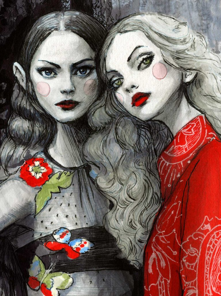 Close up details picture of two girls faces in Red Valentino Spring 2020 collection by Fashion Illustrator Danny Roberts