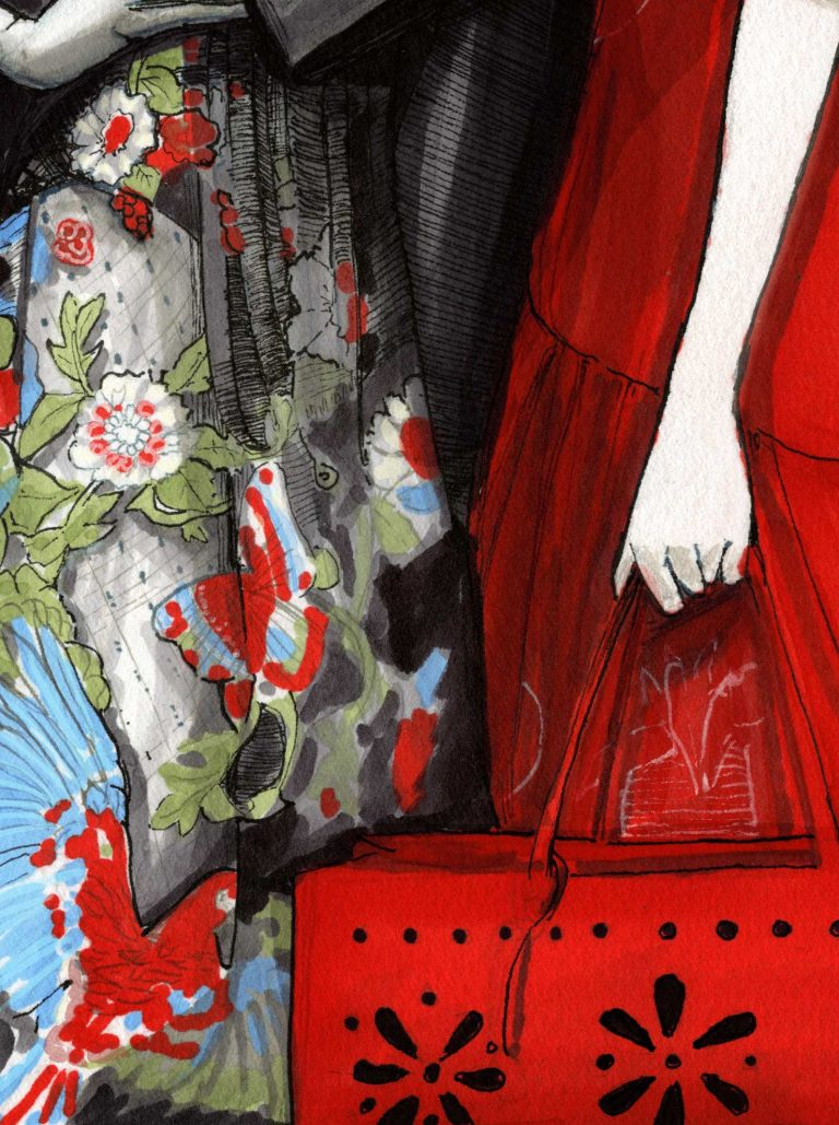 Details picture of Garments of Igor and andre Artist Danny Roberts, Fashion Illustration Limited Edition Print of Red Valentino Spring 2020
