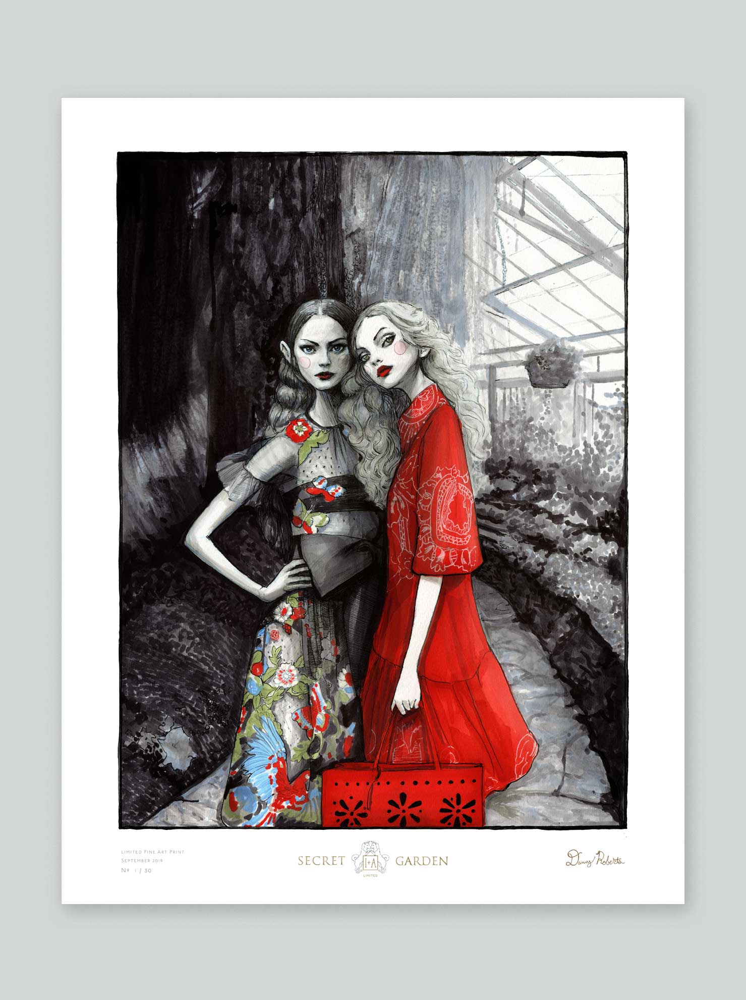 Artist Danny Roberts of Igor and andre Fashion Illustration Limited Edition Print of Red Valentino Spring 2020