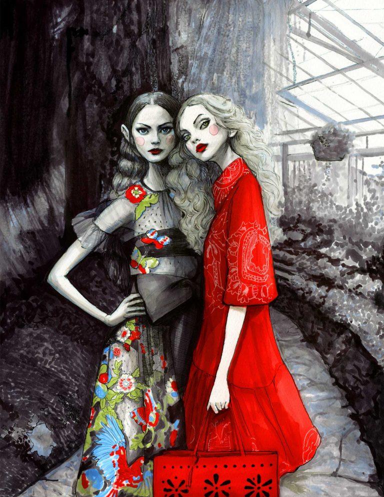 Original Artwork by Fashion Illustrator Danny Roberts Red Garden artwork inspired by RedValentino Spring 2020 Collection of igorandandre