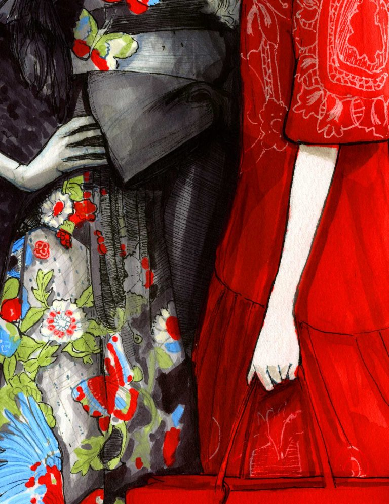 picture of red garden original Garments Details by Igor and andre Artist Danny Roberts, Fashion Illustration