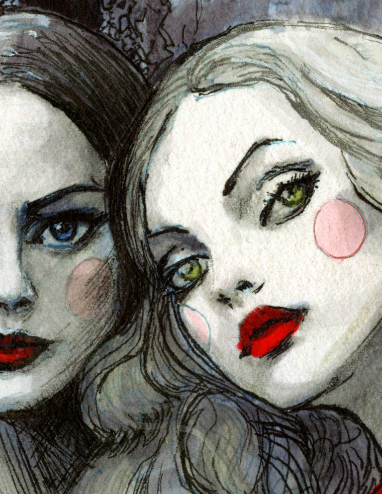 Close up details picture of two girls faces in Red Valentino Spring 2020 collection by Fashion Illustrator Danny Roberts original red garden
