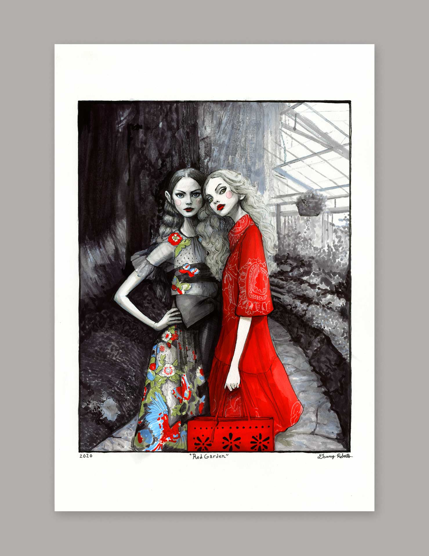 Red Garden, Original Artwork by Danny Roberts featuring Red Valentino Spring 2020 collection