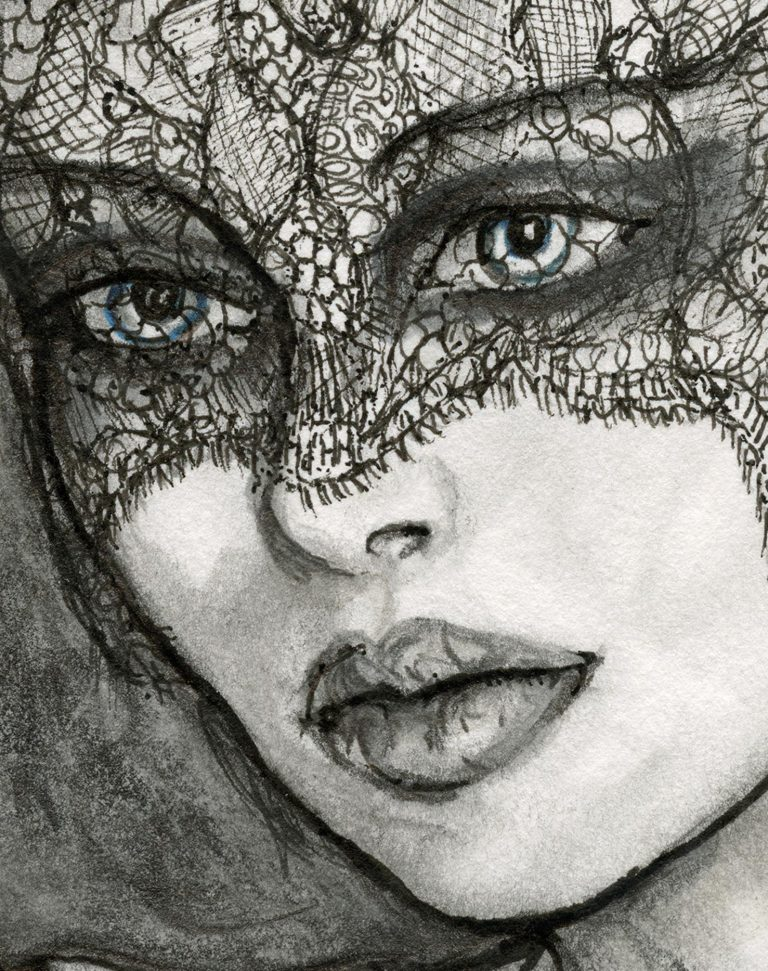 Details Close up of Beautiful Face of Artist Danny Roberts Fashion Drawing of Jason wu Collection